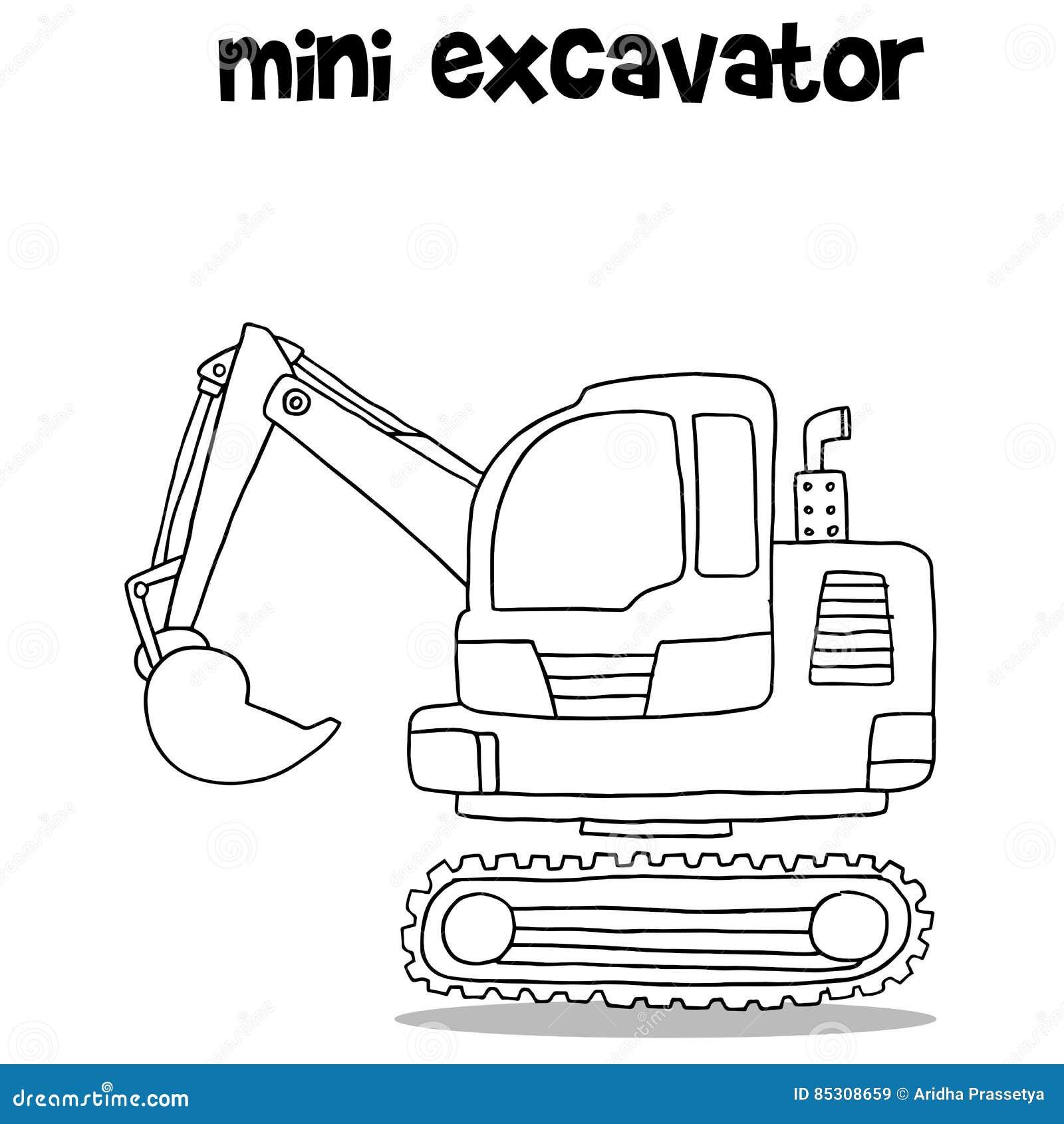 Hand Draw Of Mini Excavator Stock Vector - Illustration of mini