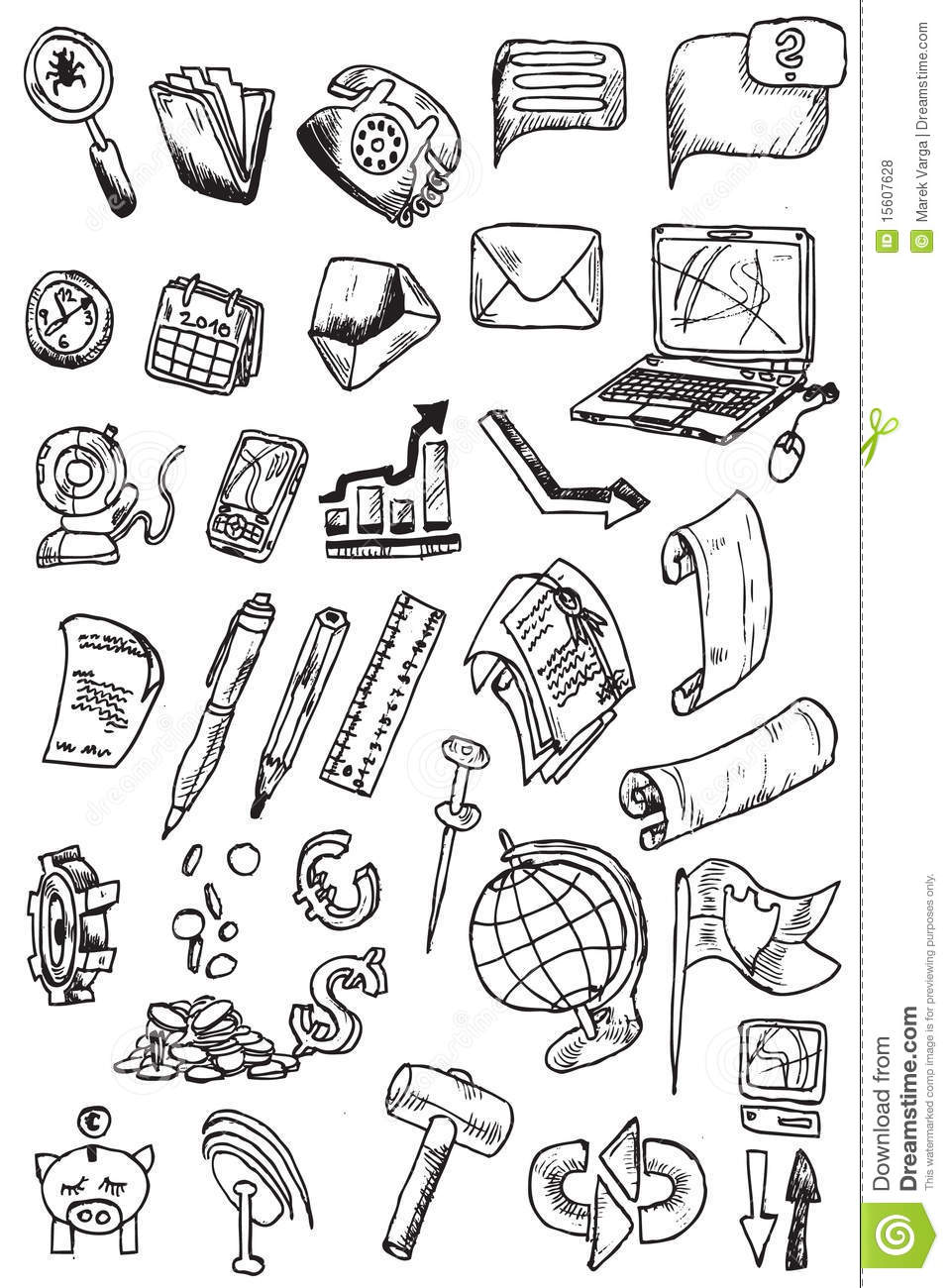 Hand Draw Money Icon Collection Vector Stock Vector Illustration