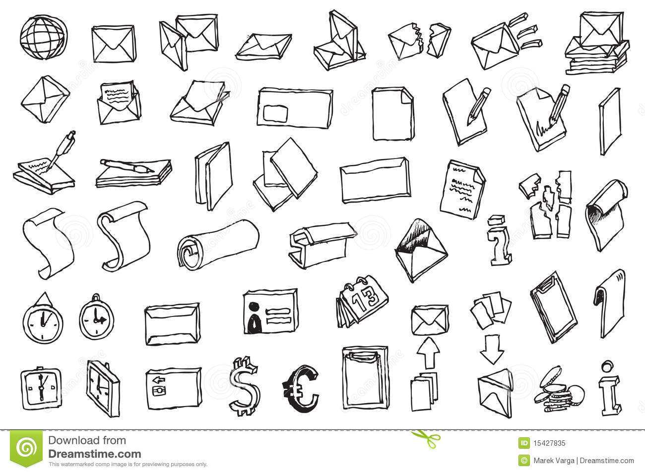Hand Draw Office And Post Communication Icon Vecto Stock Vector