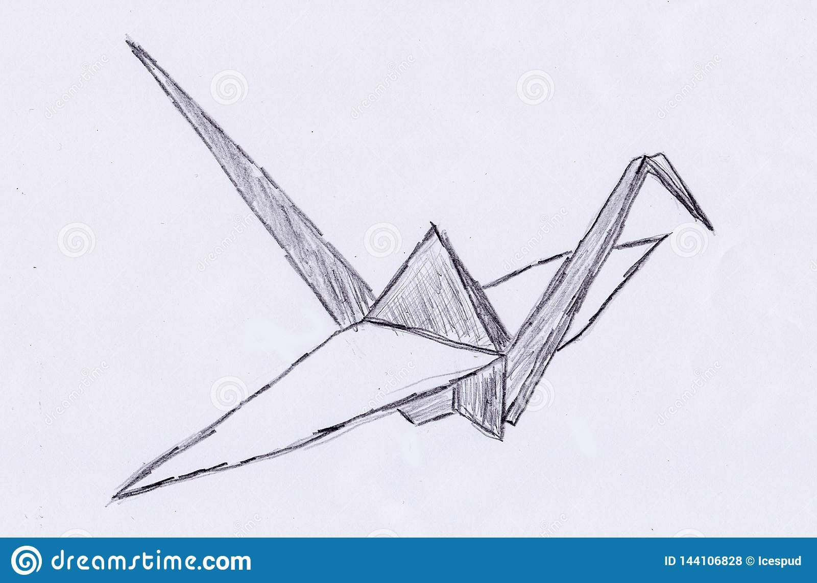 Hand Draw Of A Origami Crane Stock Illustration Illustration Of