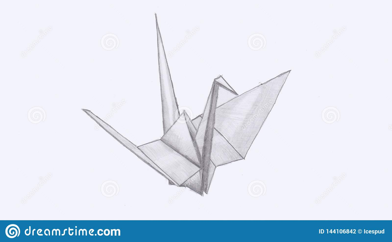 Hand draw of a origami crane