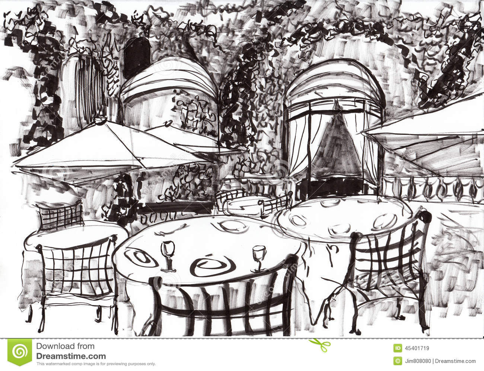 Hand Draw Paris Coffee Shop Stock Illustration Image