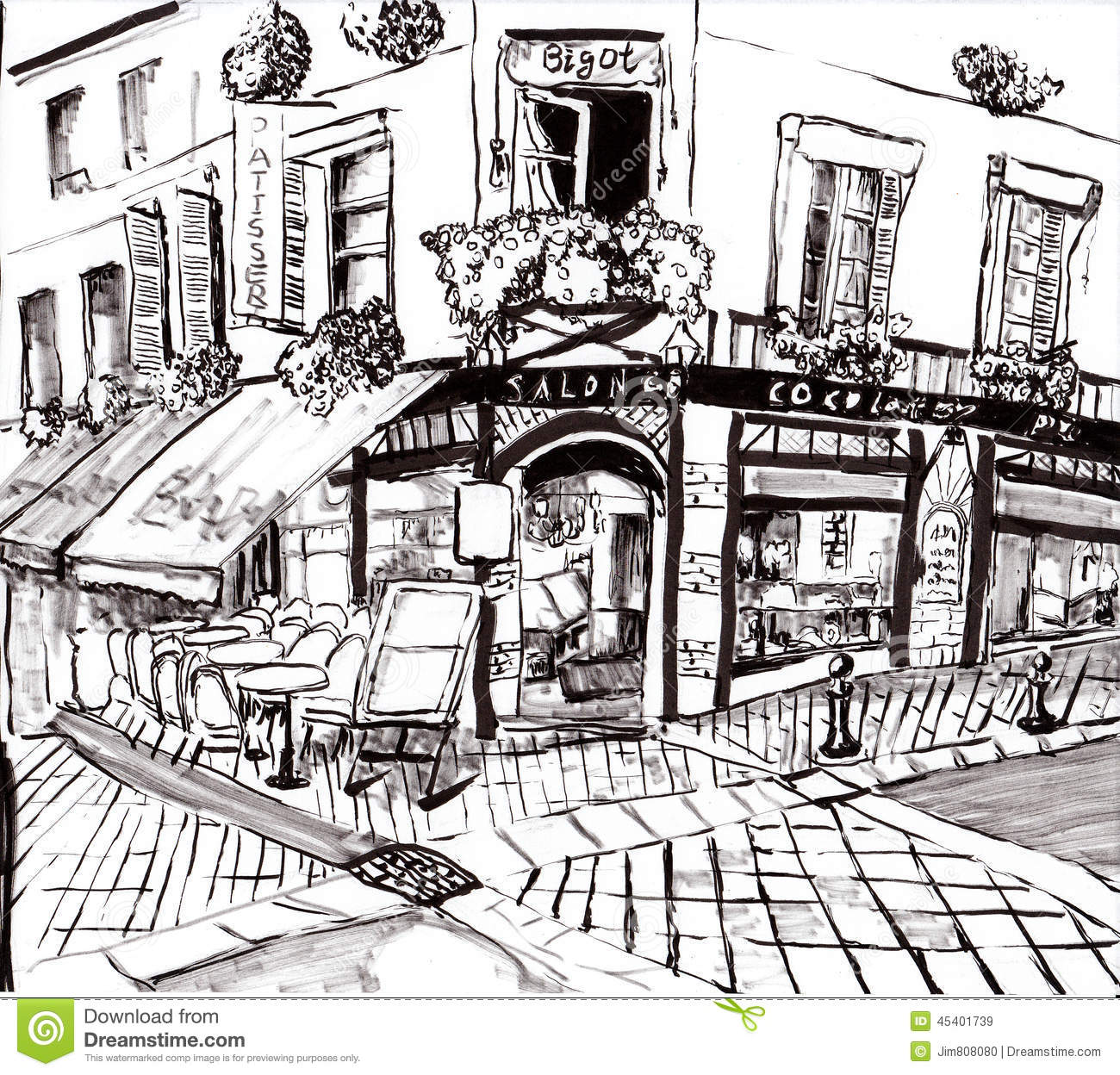 Hand Draw Paris Coffee Shop Stock Illustration Image
