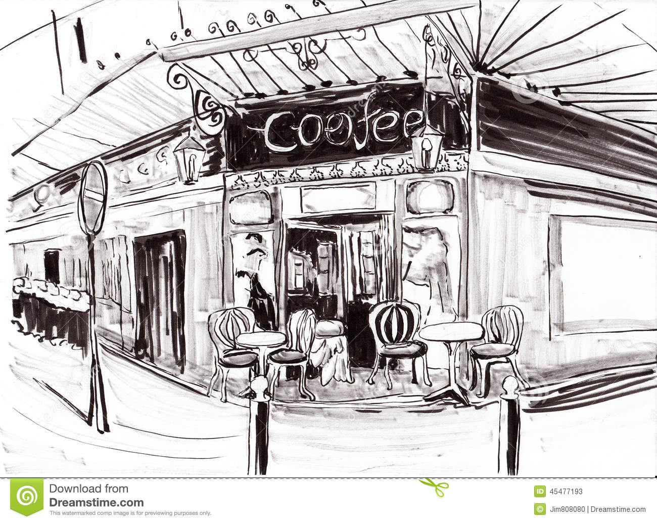 Hand draw paris coffee shop stock illustration illustration of hand draw paris coffee shop malvernweather Gallery
