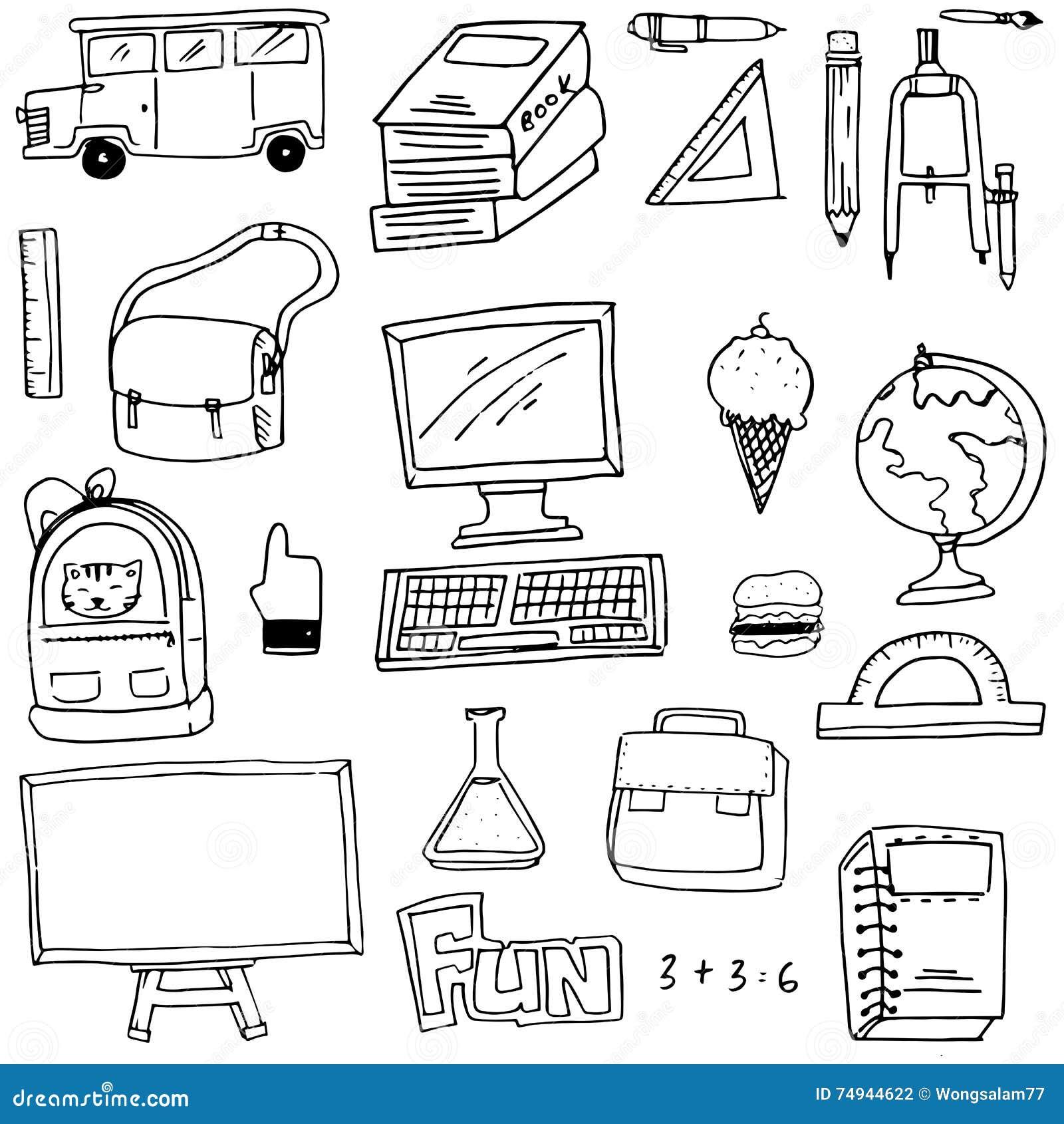 Hand draw school supplies doodles vector art