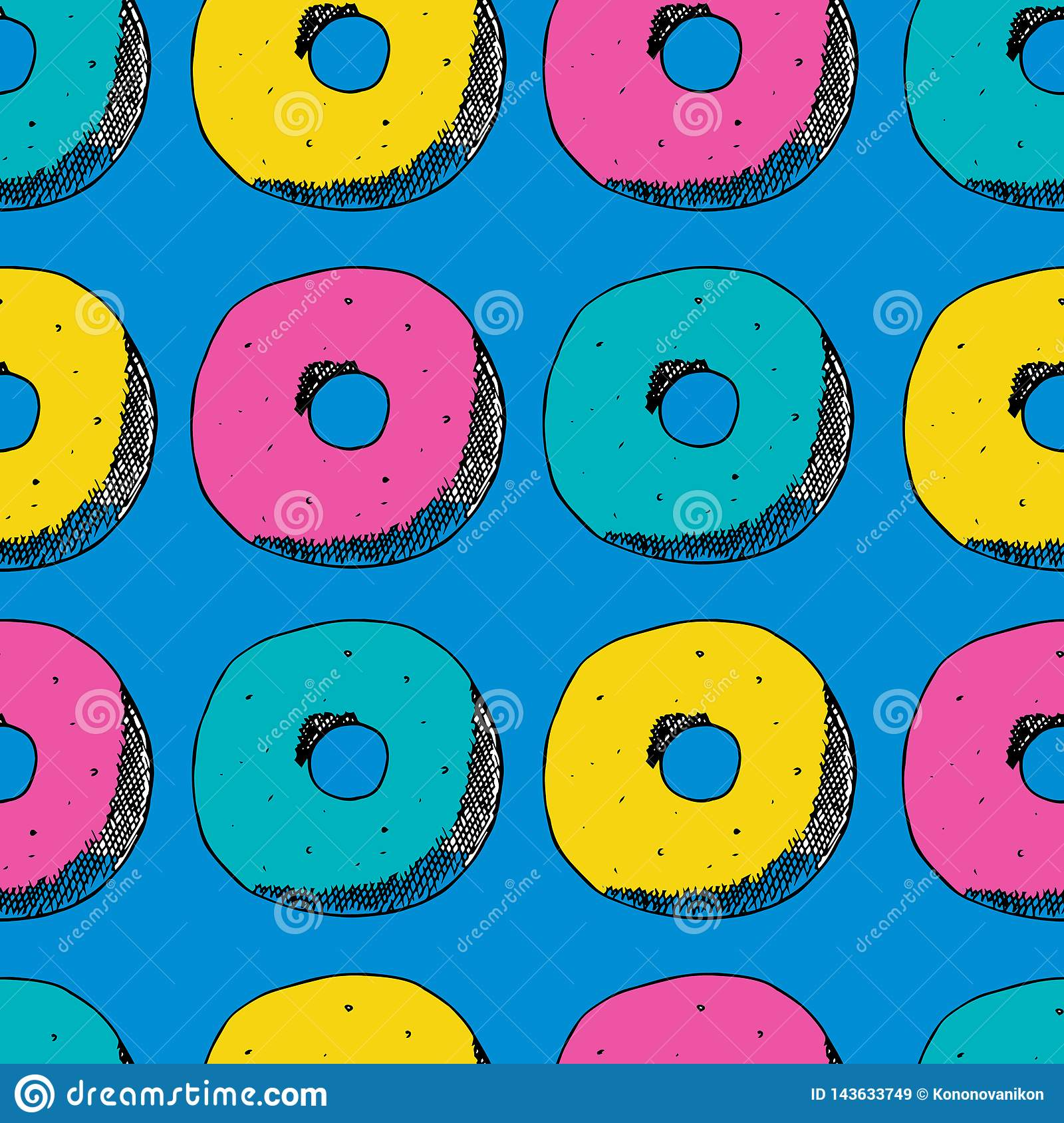 Hand draw seamless pattern. Color donuts, pink, blue, yellow. Vector illustration
