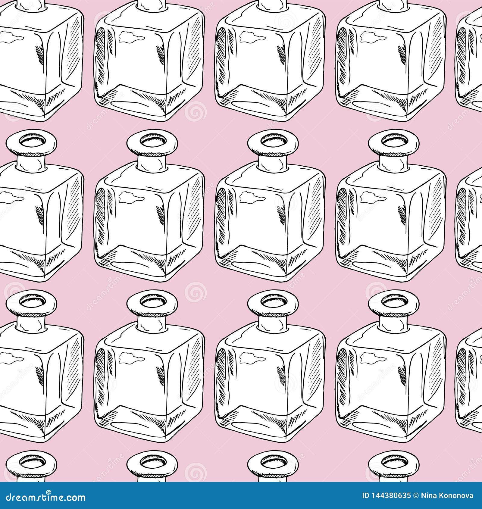 Hand draw seamless pattern. Glass bottles. Vector illustration