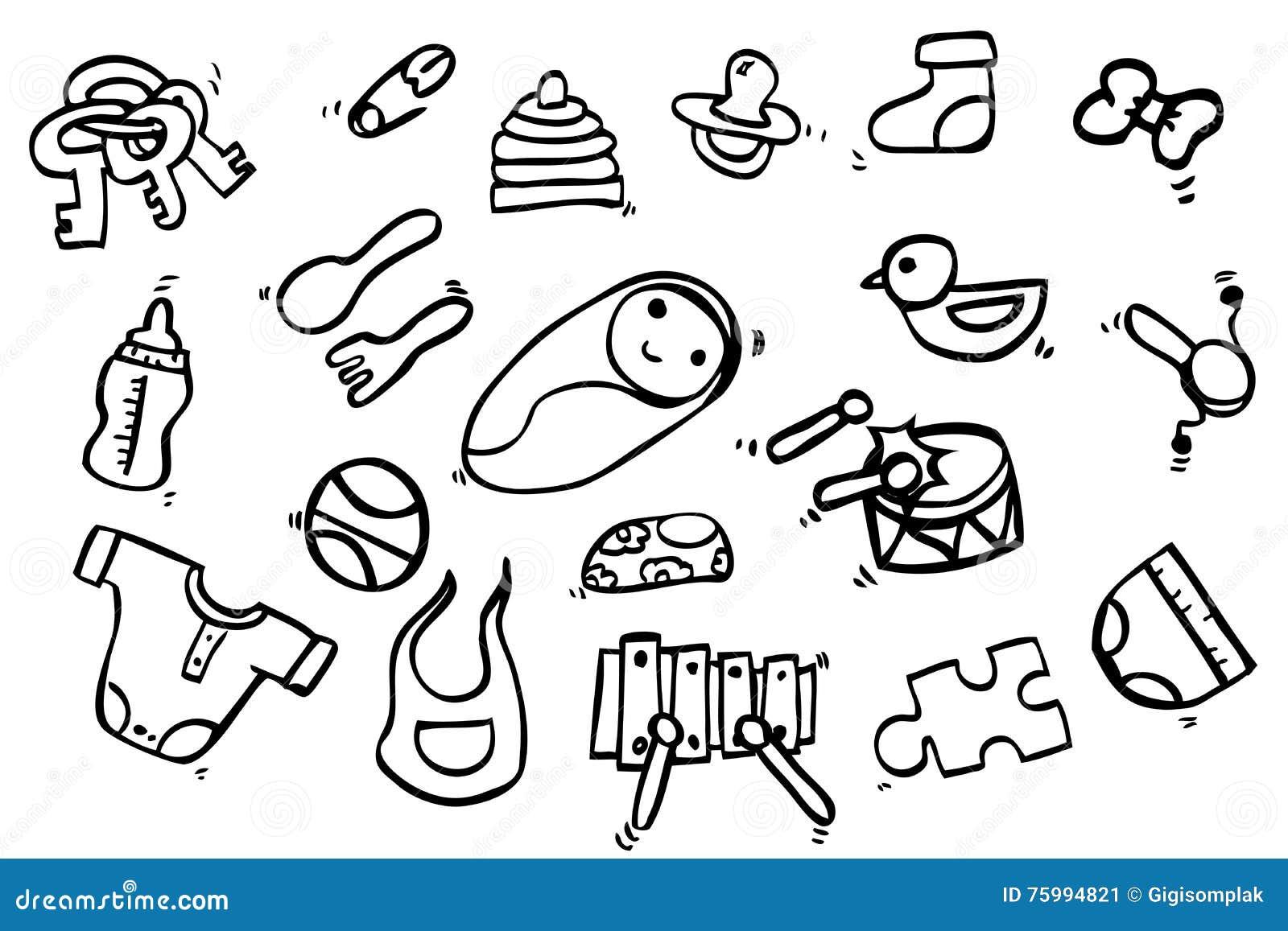 Hand Draw Sketch, Baby Stuff Stock Vector - Illustration ...