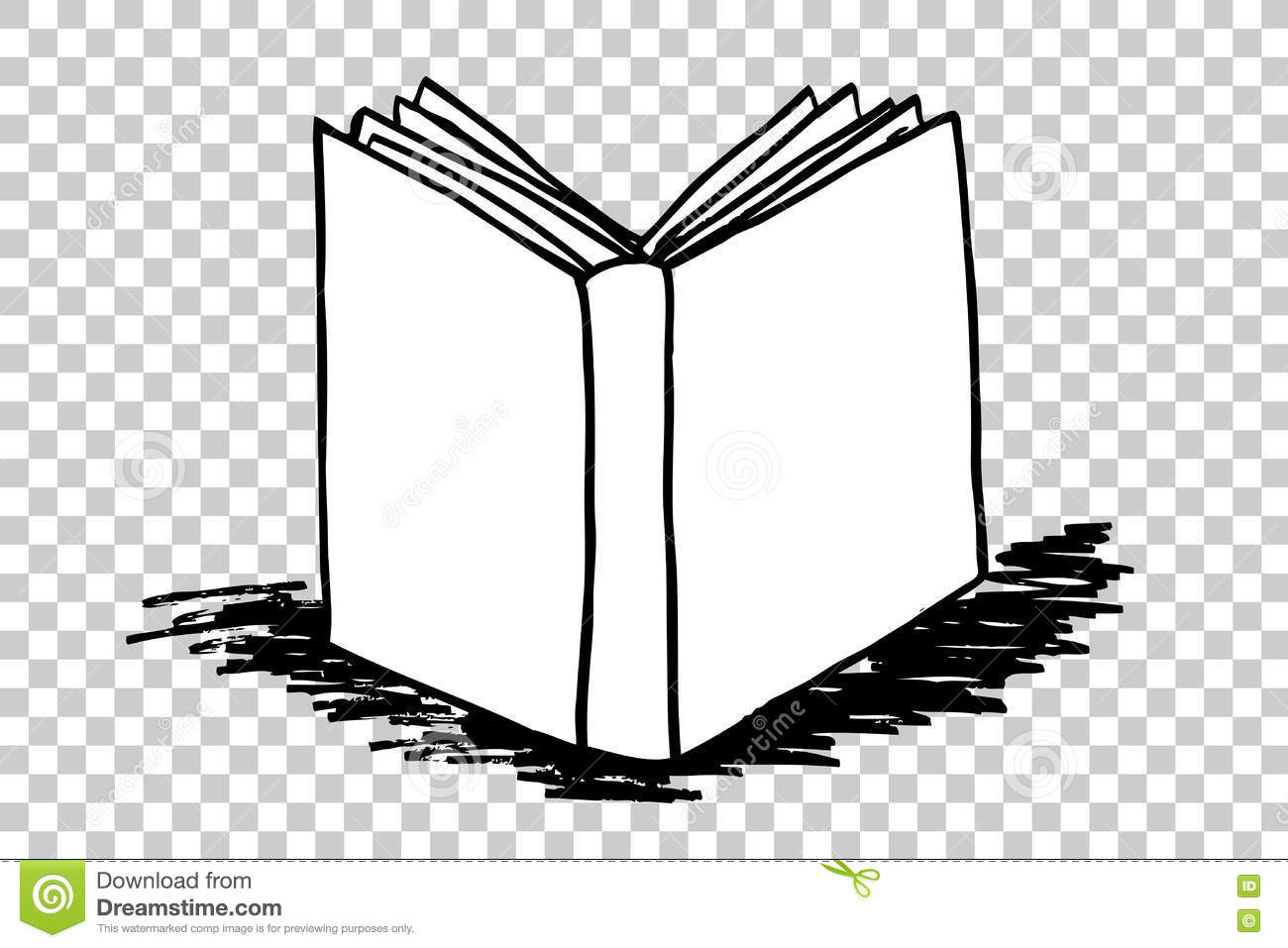Book Cover Drawing Questions : Hand draw sketch of book with black shadow at transparent