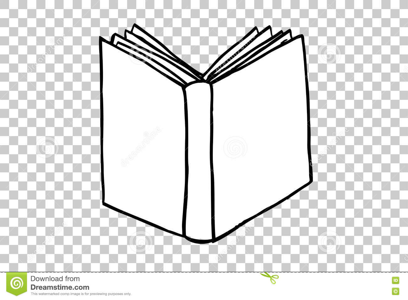 hand draw sketch of book at transparent effect background stock