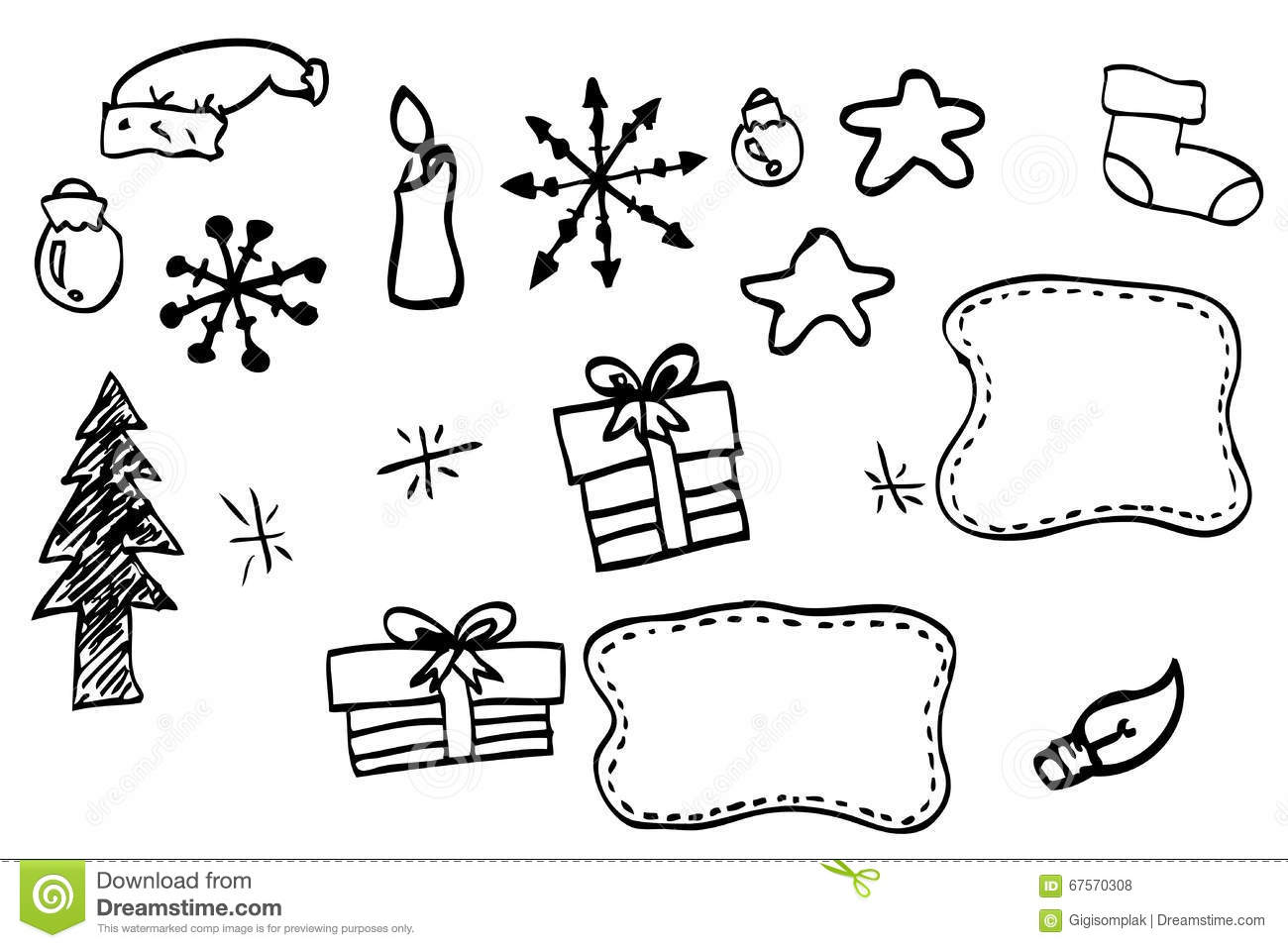Christmas Things To Draw.Hand Draw Sketch Of Christmas Stuff Stock Vector
