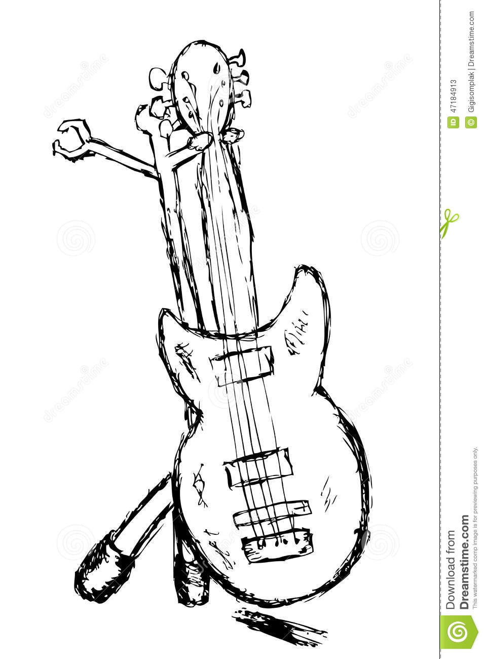 hand draw sketch  electric guitar stock vector