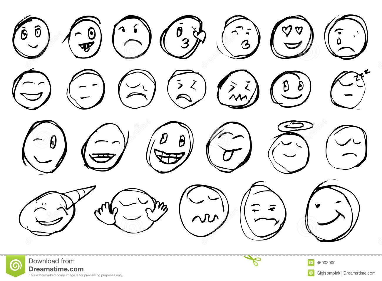 Hand Draw Sketch Emoticon Stock Vector Illustration Of Character