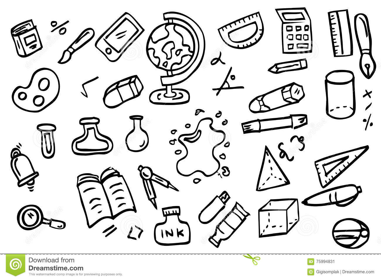 Hand Draw Sketch School Education Stuff Stock Vector