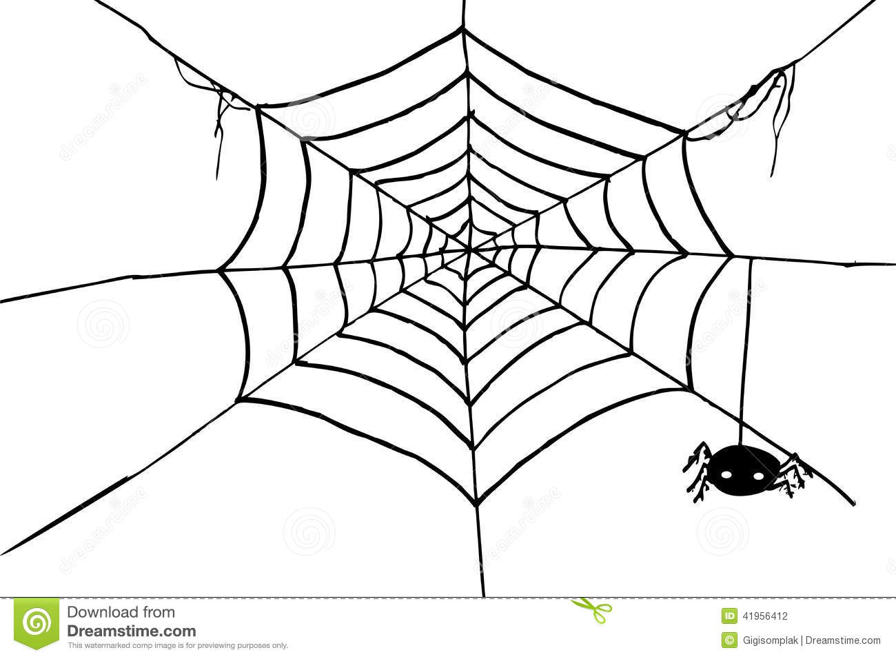 Hand Draw Sketch Spider And Web Stock Vector Image