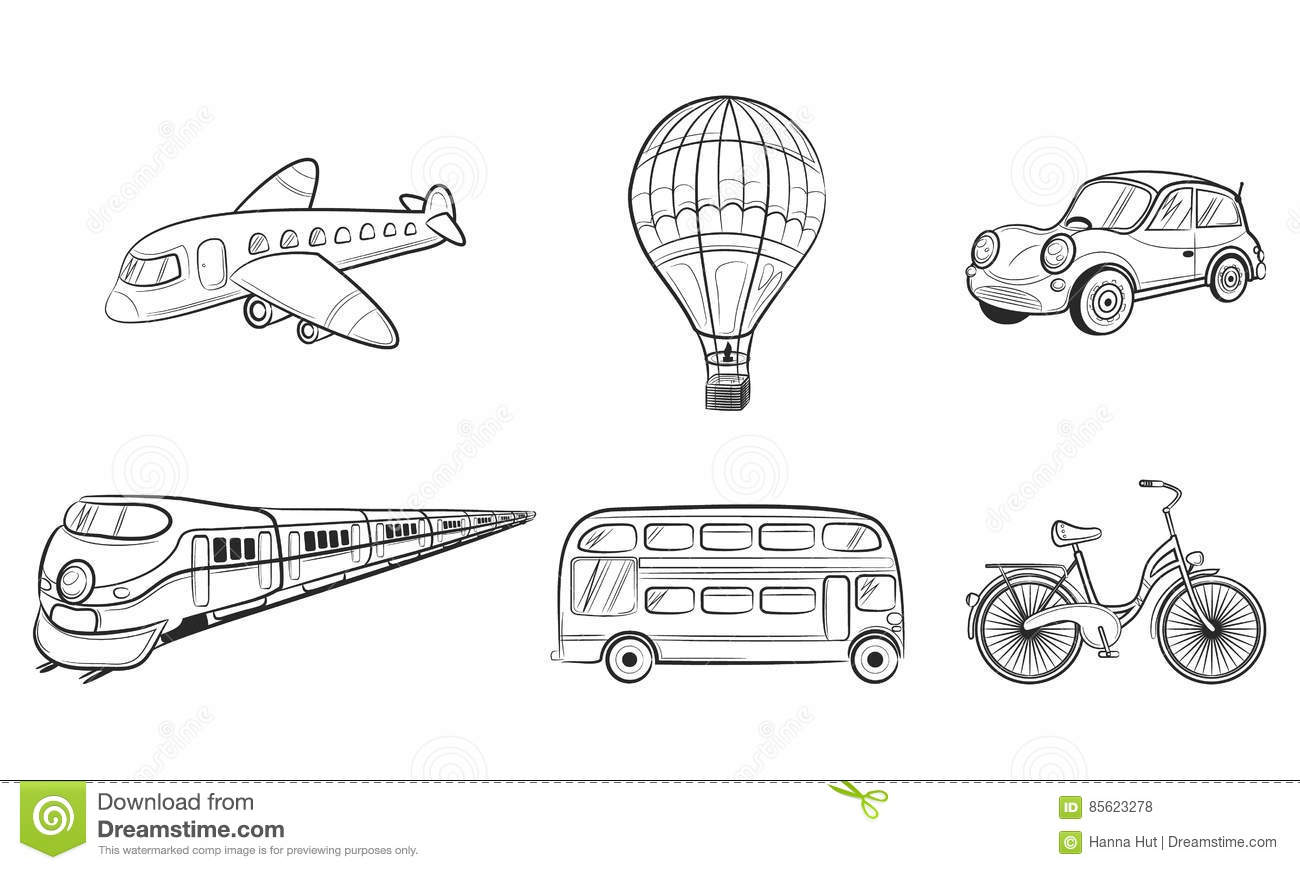Hand Draw Sketch Transportation Travel Icons Stock Vector