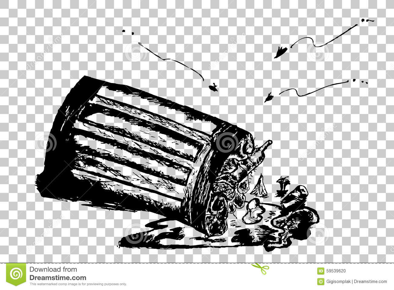 hand draw sketch trash and trash bin stock vector illustration of