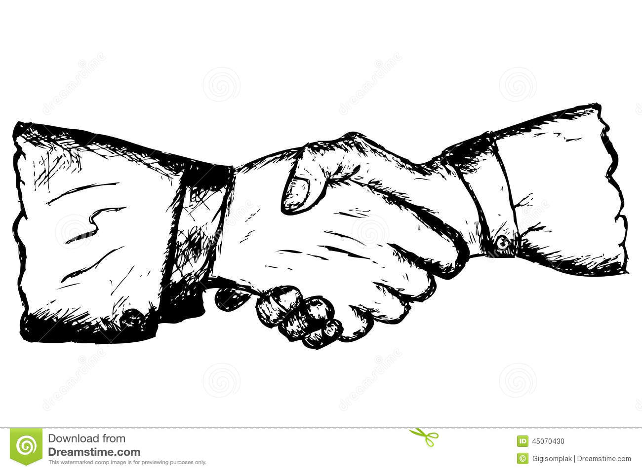 Hand Draw Sketch Two Hand Shaking Stock Vector Illustration Of