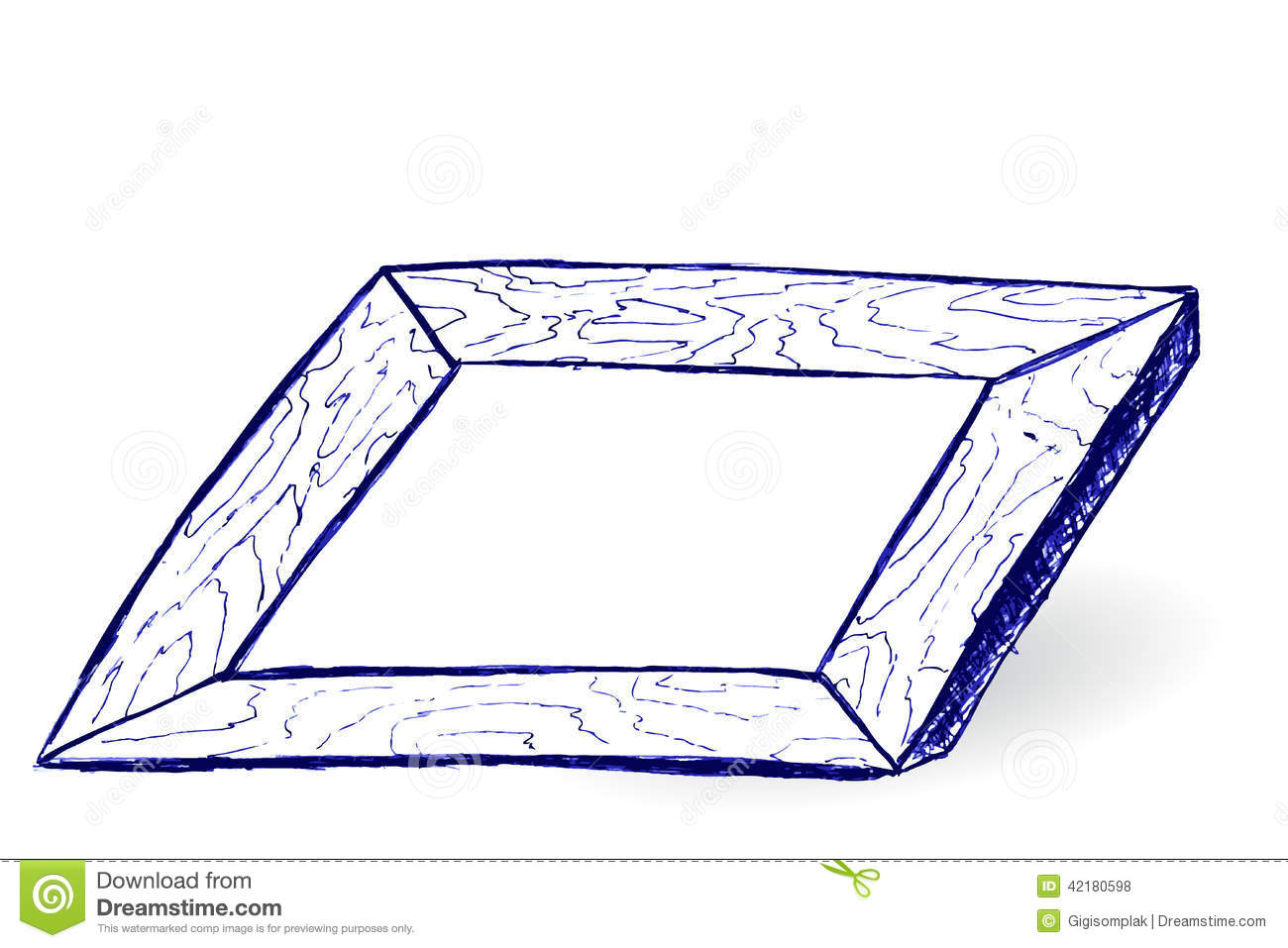 Hand Draw Sketch Wooden Frame Stock Vector Illustration Of