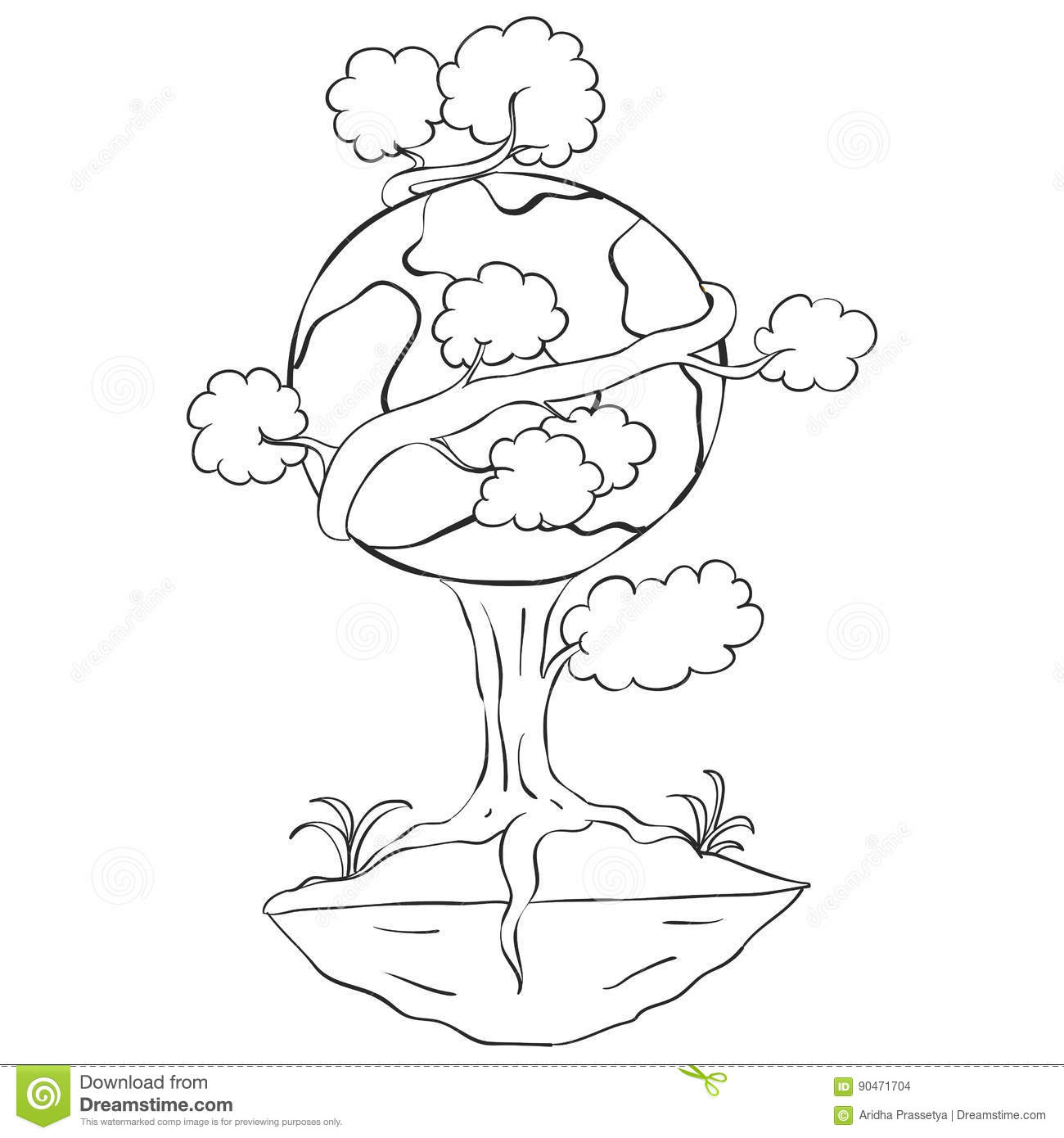 Hand Draw Tree World For Earth Day Stock Vector Illustration Of