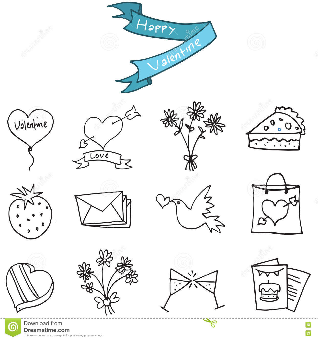Hand Draw Of Valentine Day Icons Stock Vector Illustration Of Gift