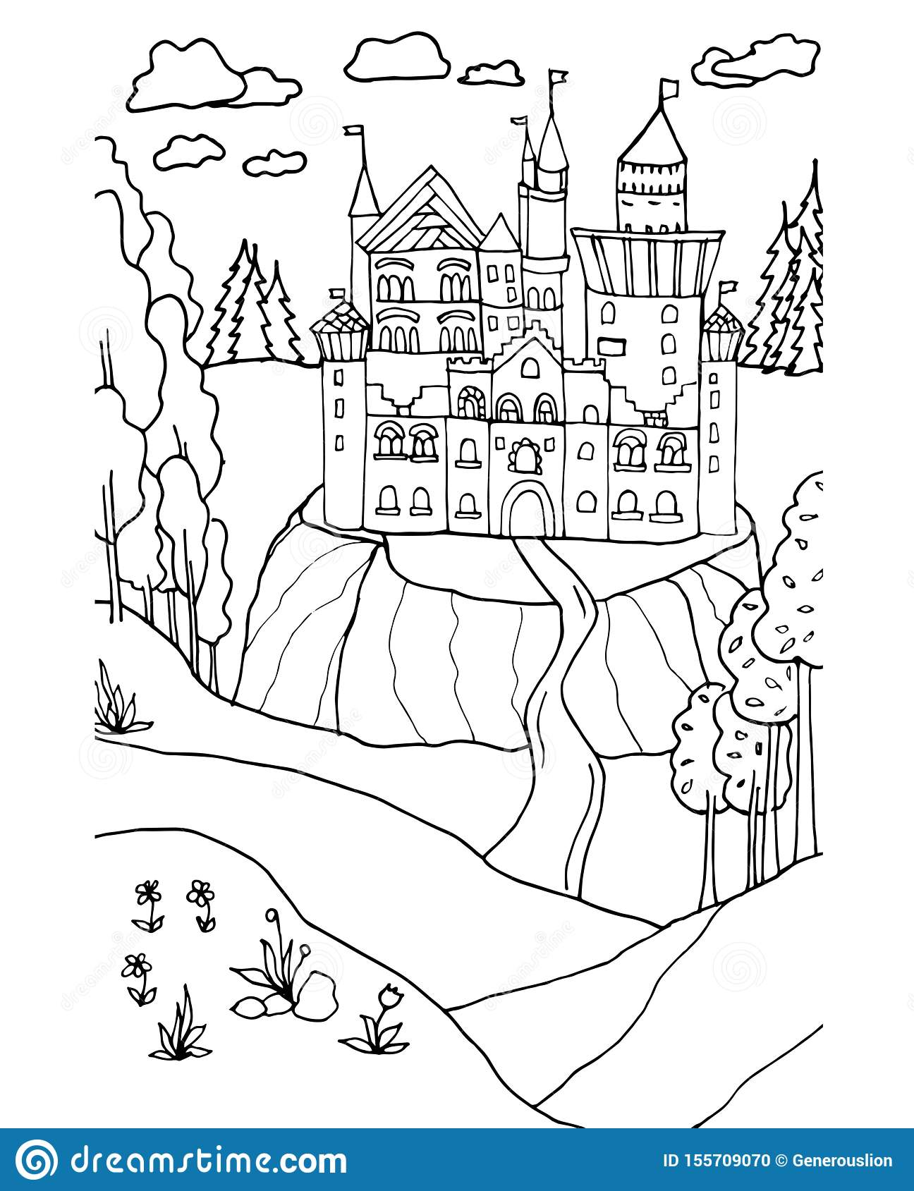 - Hand Drawn Vector Coloring Book Page. Castle Coloring Page For