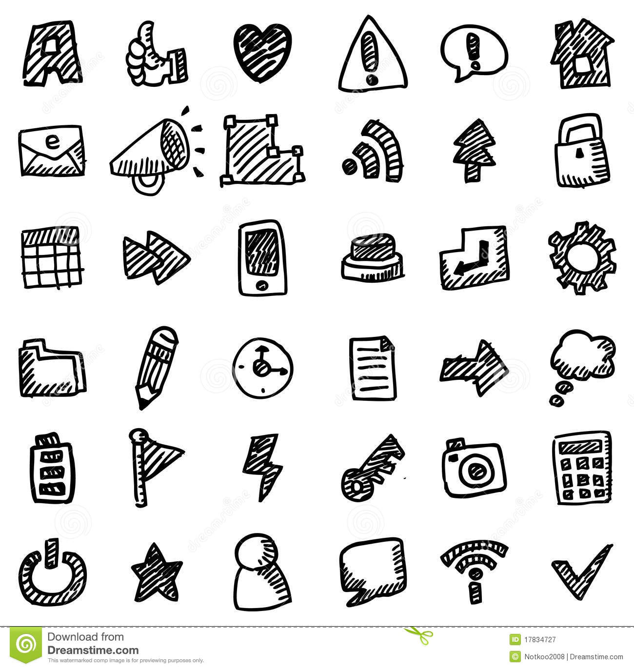 Hand Drawing Line Icons : Hand draw web icon royalty free stock photography image