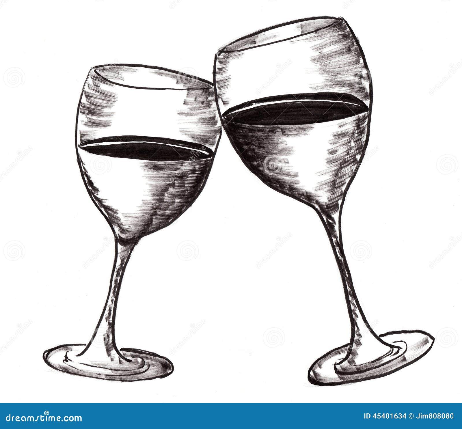 Hand Draw Wine Cup Stock Illustration - Image: 45401634