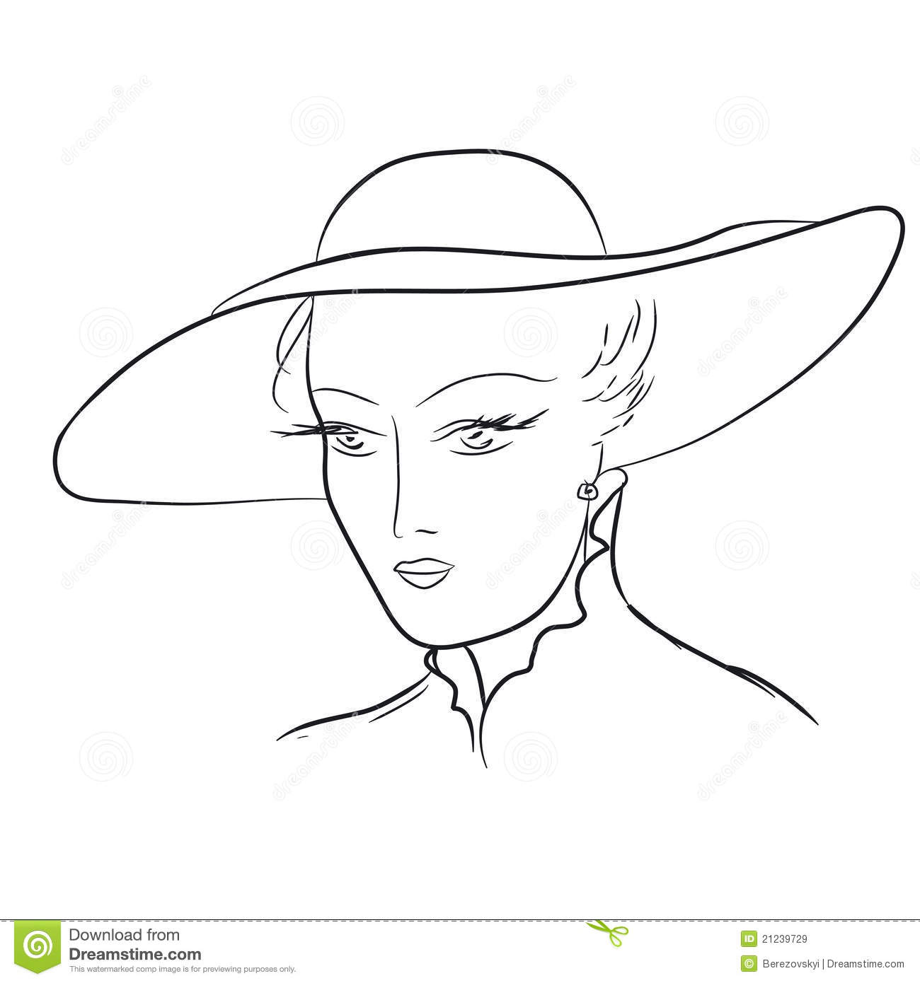 Hand Draw Young Woman In Hat. EPS 8 Royalty Free Stock ...