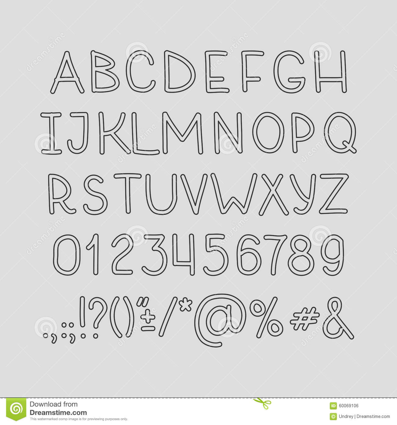 Hand Drawin Alphabet Handwritting Abc Vector Font Stock