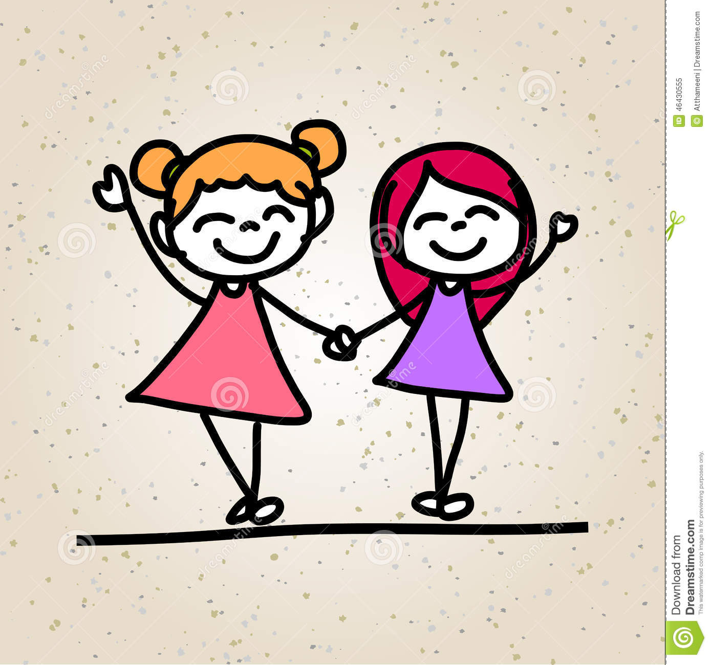 hand drawing abstract cartoon happy kids stock illustration