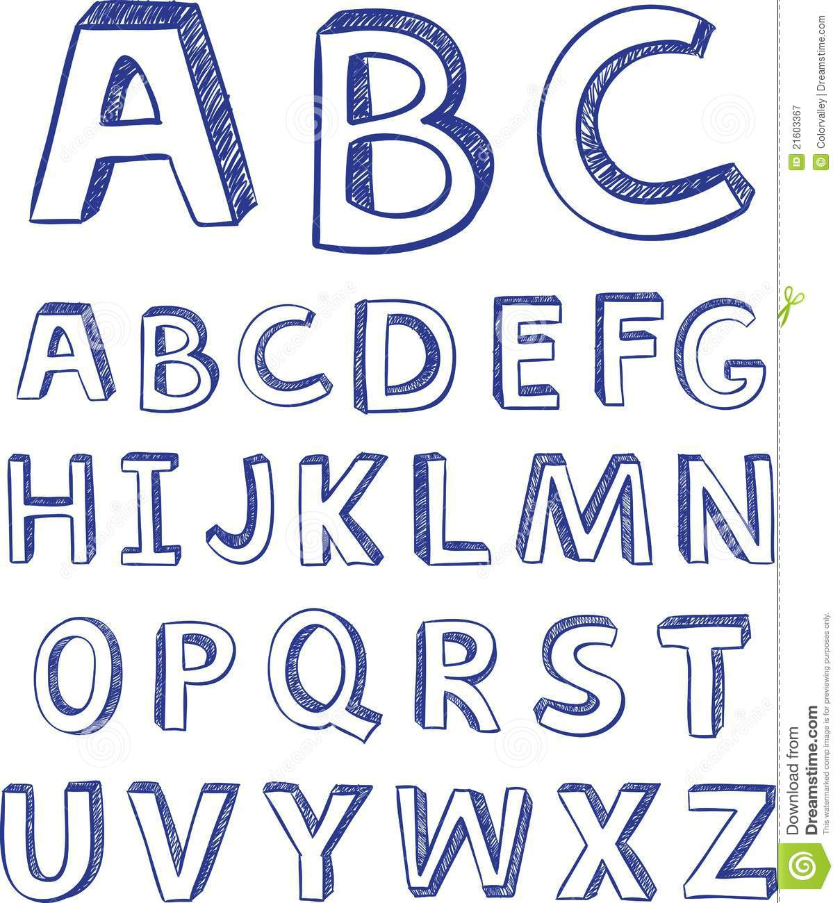 Hand Drawing Alphabet. Vector For Design Royalty Free Stock ...