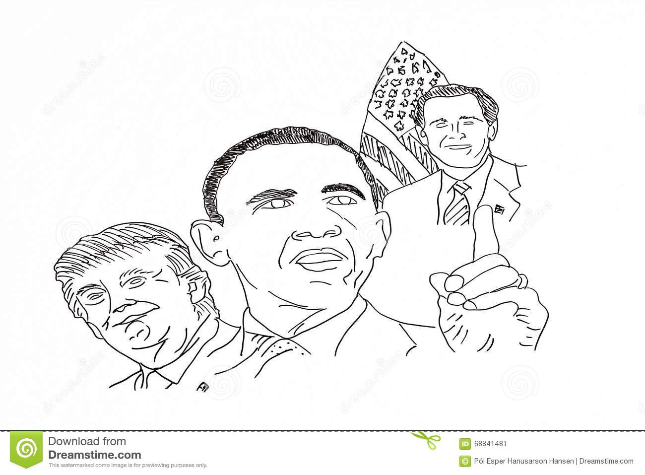 Hand drawing of american politicians