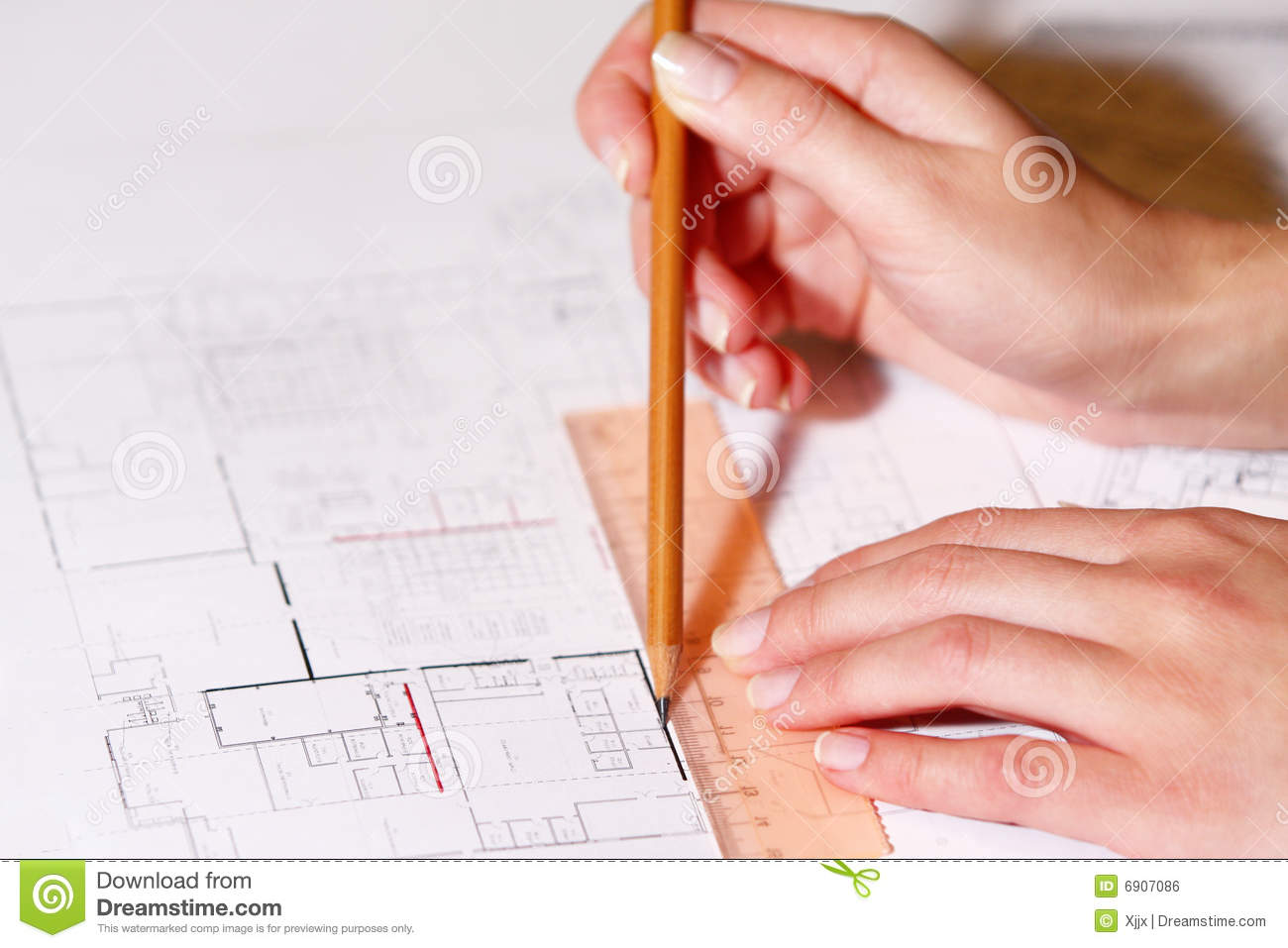 Hand drawing architectural plan with pencil royalty free for How to draw architectural plans by hand