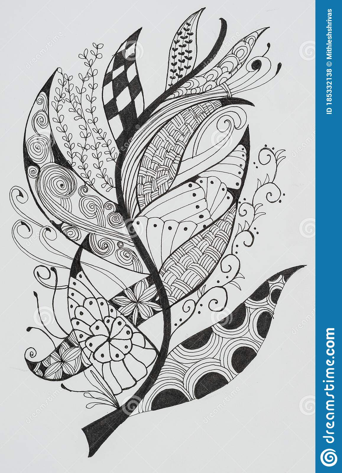 Hand Drawing Artistic Abstract Art For Adult Coloring Pages In Doodle Stock Illustration Illustration Of Monochrome Hobby 185332138
