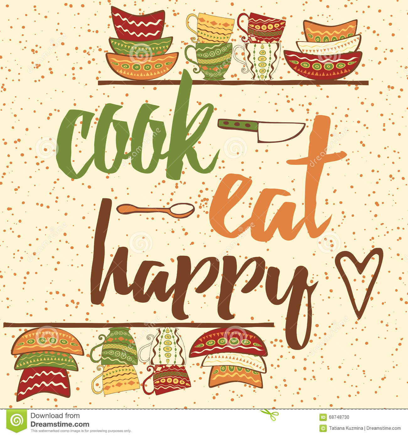 Hand Drawing Banner With Ouote About Cooking Cook Eat Happy Quote Typographical Background Illustration 68748730 Megapixl