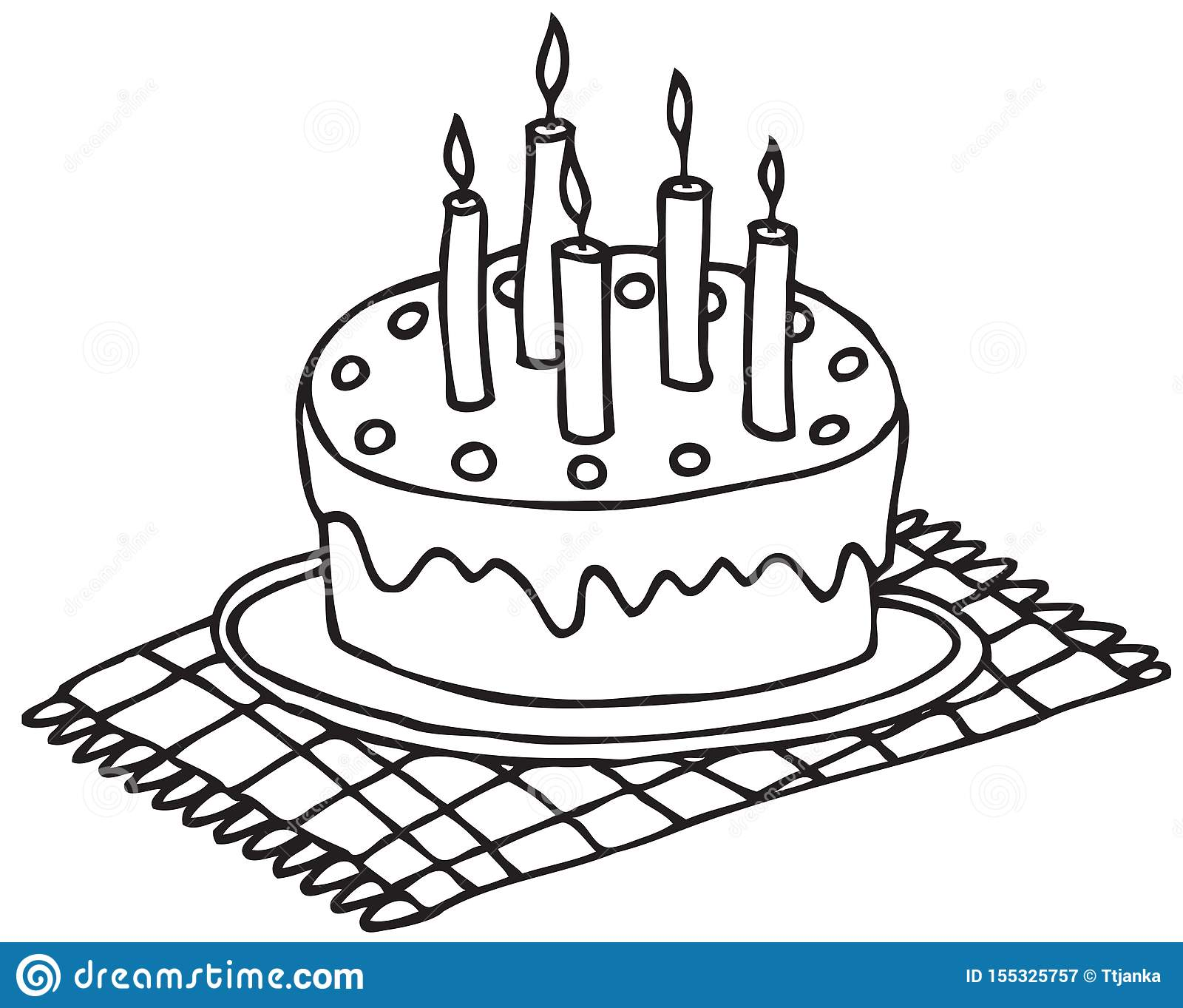 Terrific Hand Drawing Birthday Cake With Candles Stock Vector Personalised Birthday Cards Paralily Jamesorg