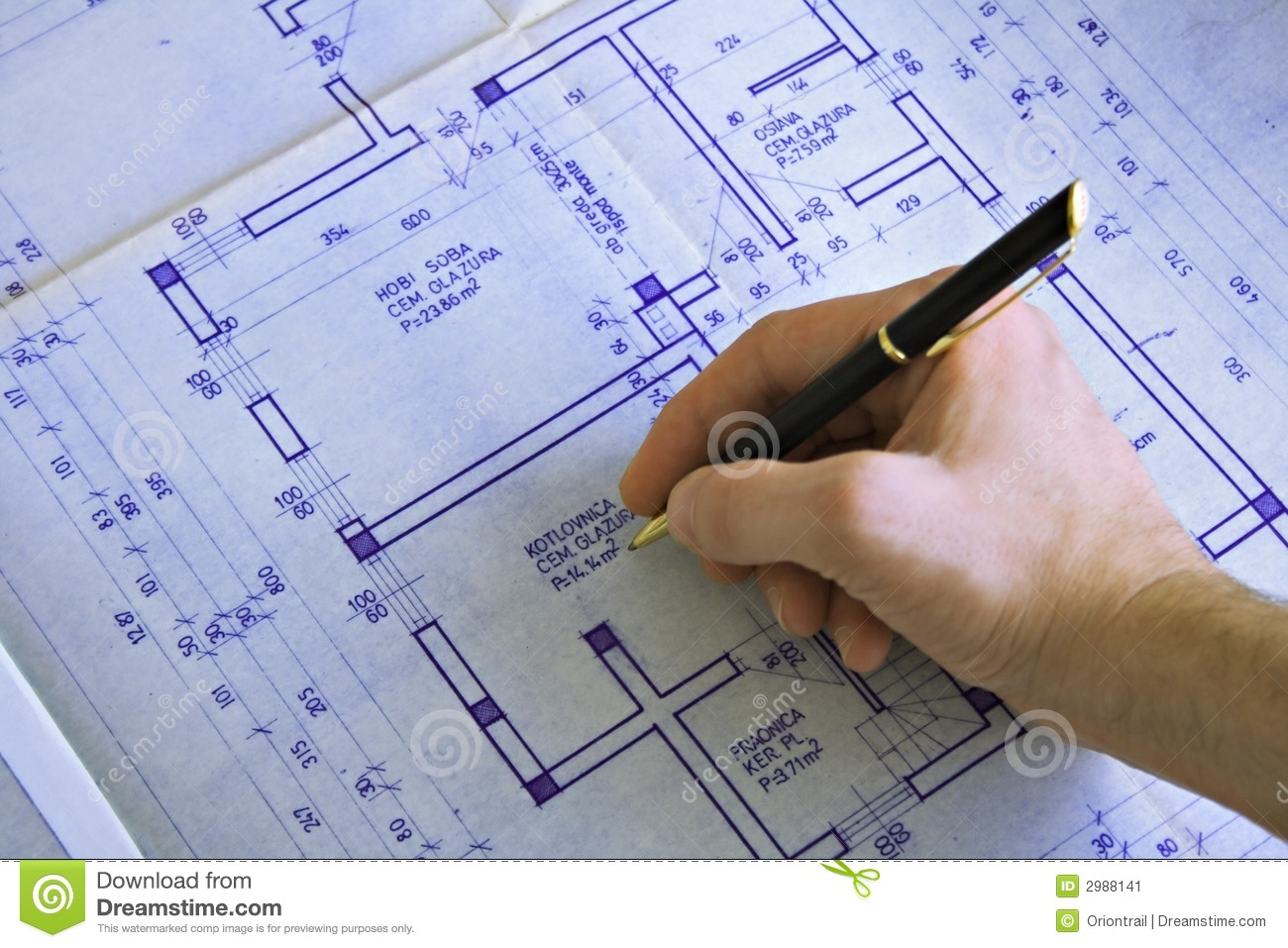 Hand Drawing A Blueprint Stock Image Image Of Detail