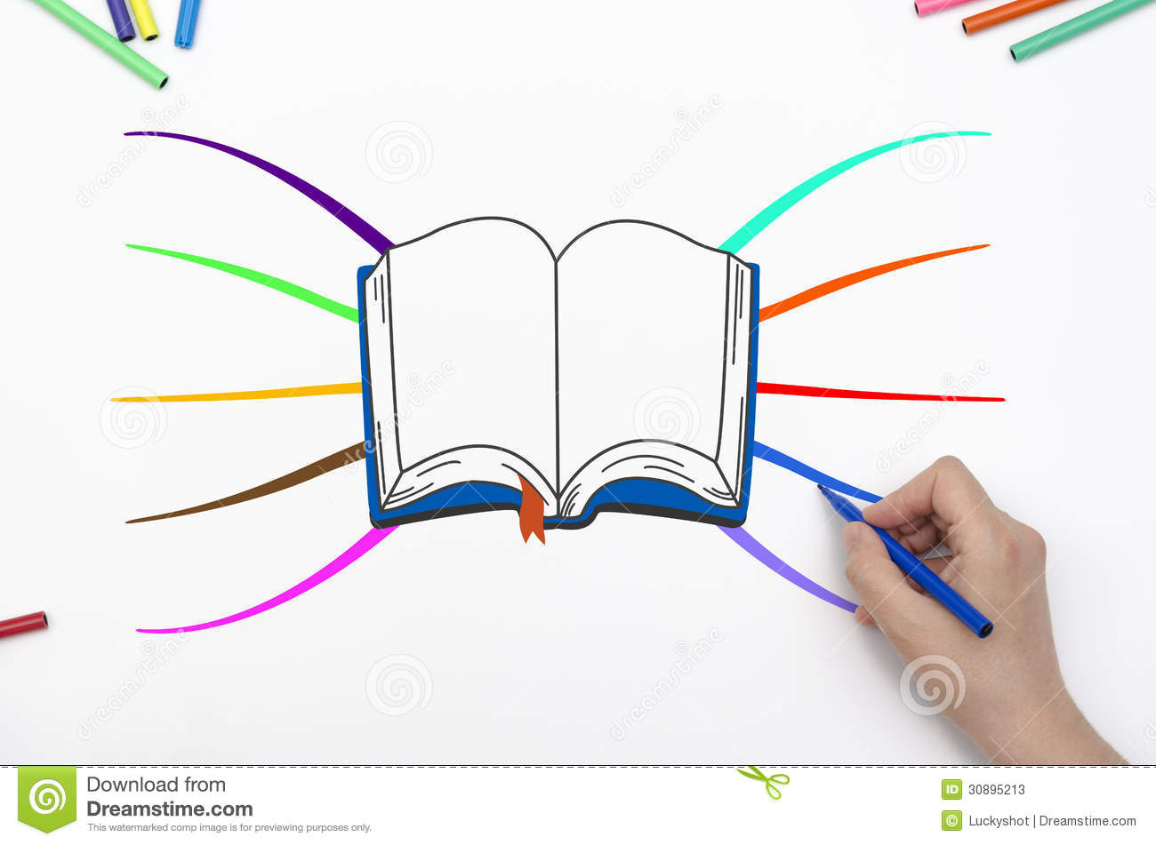 mind map with book and colorful branches. Hand drawing mind