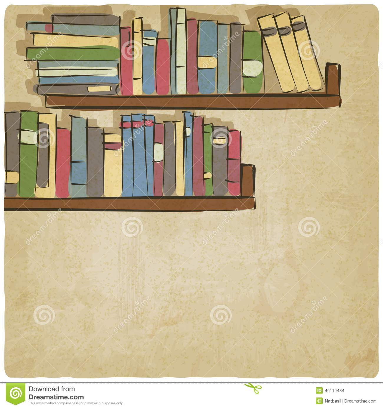 Hand Drawing Bookshelf Old Background Stock Vector Image