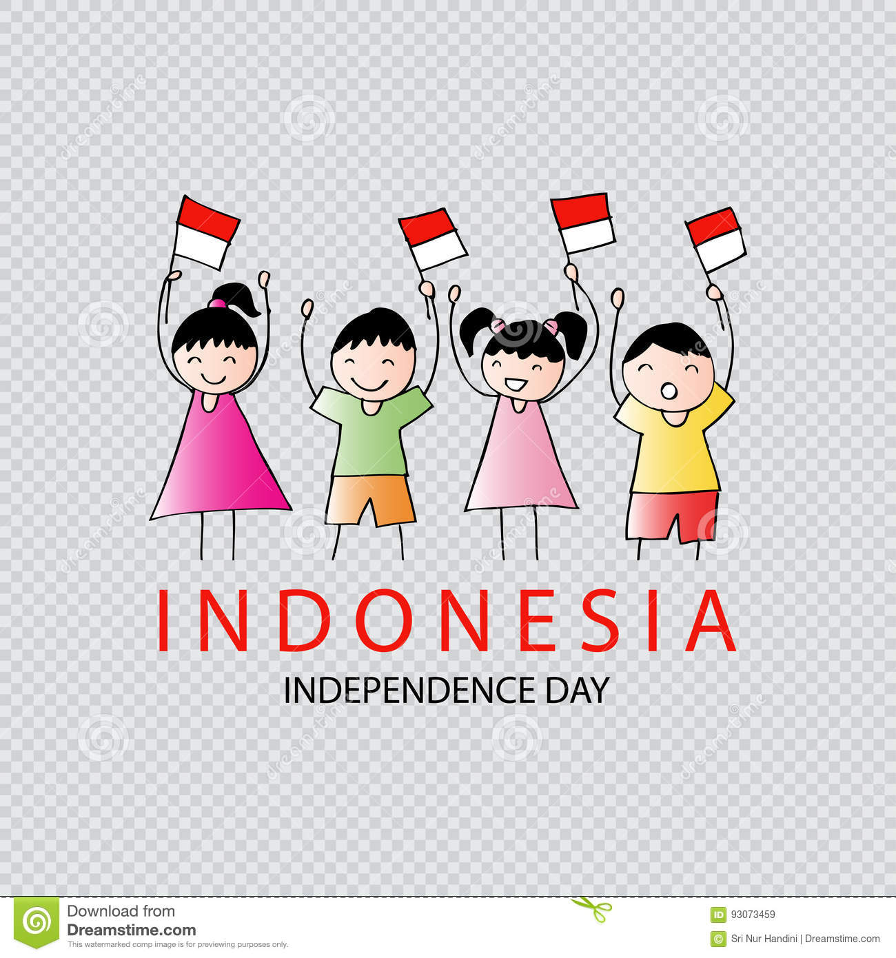 Hand Drawing Boy And Girl Holding Indonesia Flag Stock Illustration
