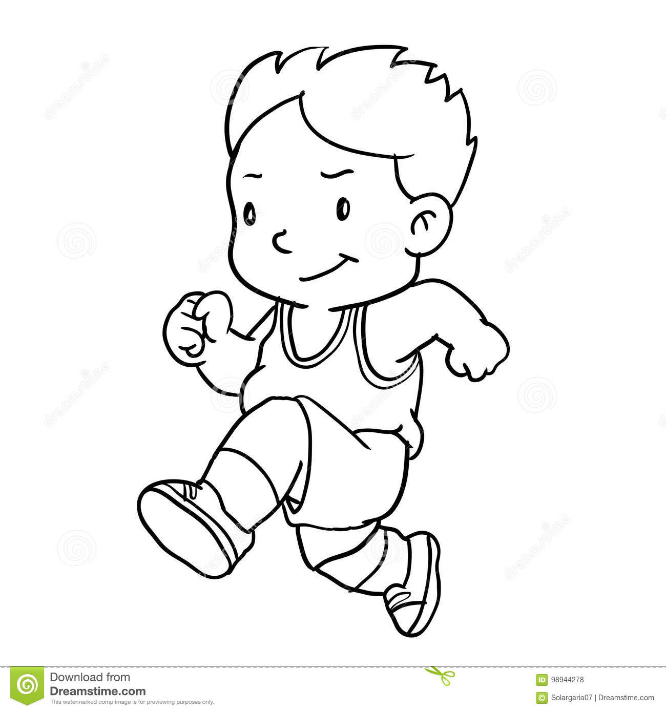 12c7b6150cf Hand drawing of boy runnin isolated on white background. Black and White  simple line Vector Illustration for Coloring Book - Line Drawn Vector