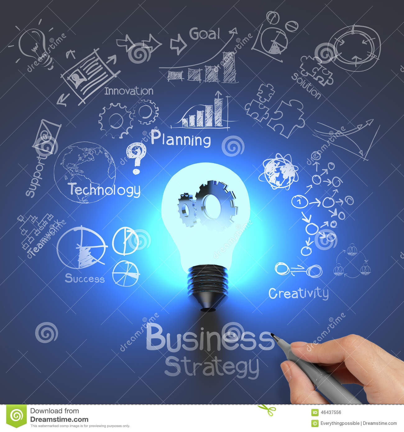 Hand drawing business strategy and light bulb