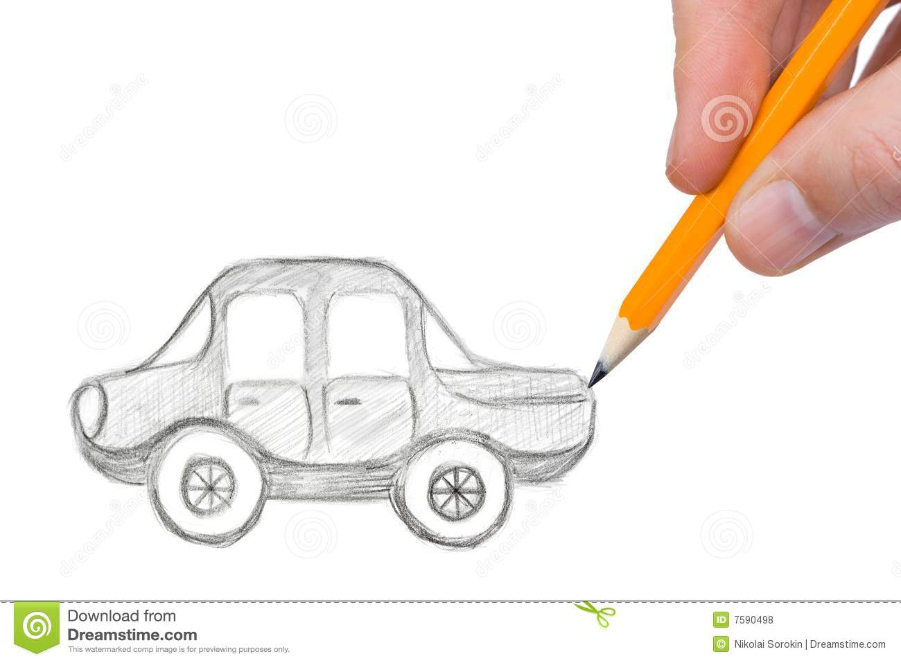 Hand drawing car stock photo. Image of background, sign - 7590498