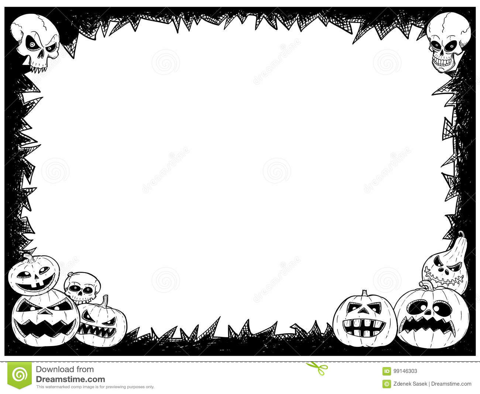 Halloween Frame With Skulls And Pumpkins Stock Vector - Illustration ...