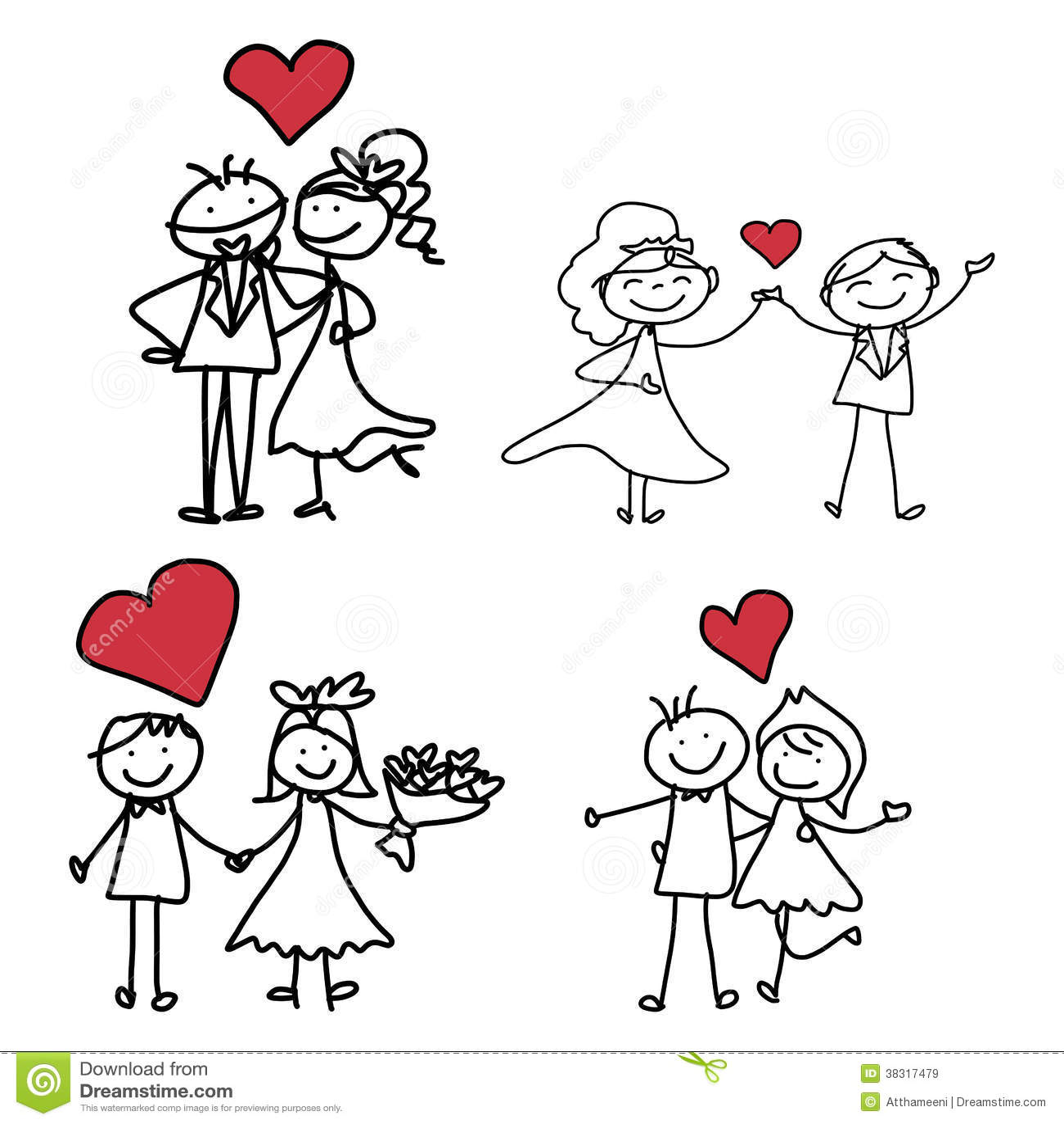 Wedding Drawings: Hand Drawing Cartoon Happiness Wedding Stock Illustration