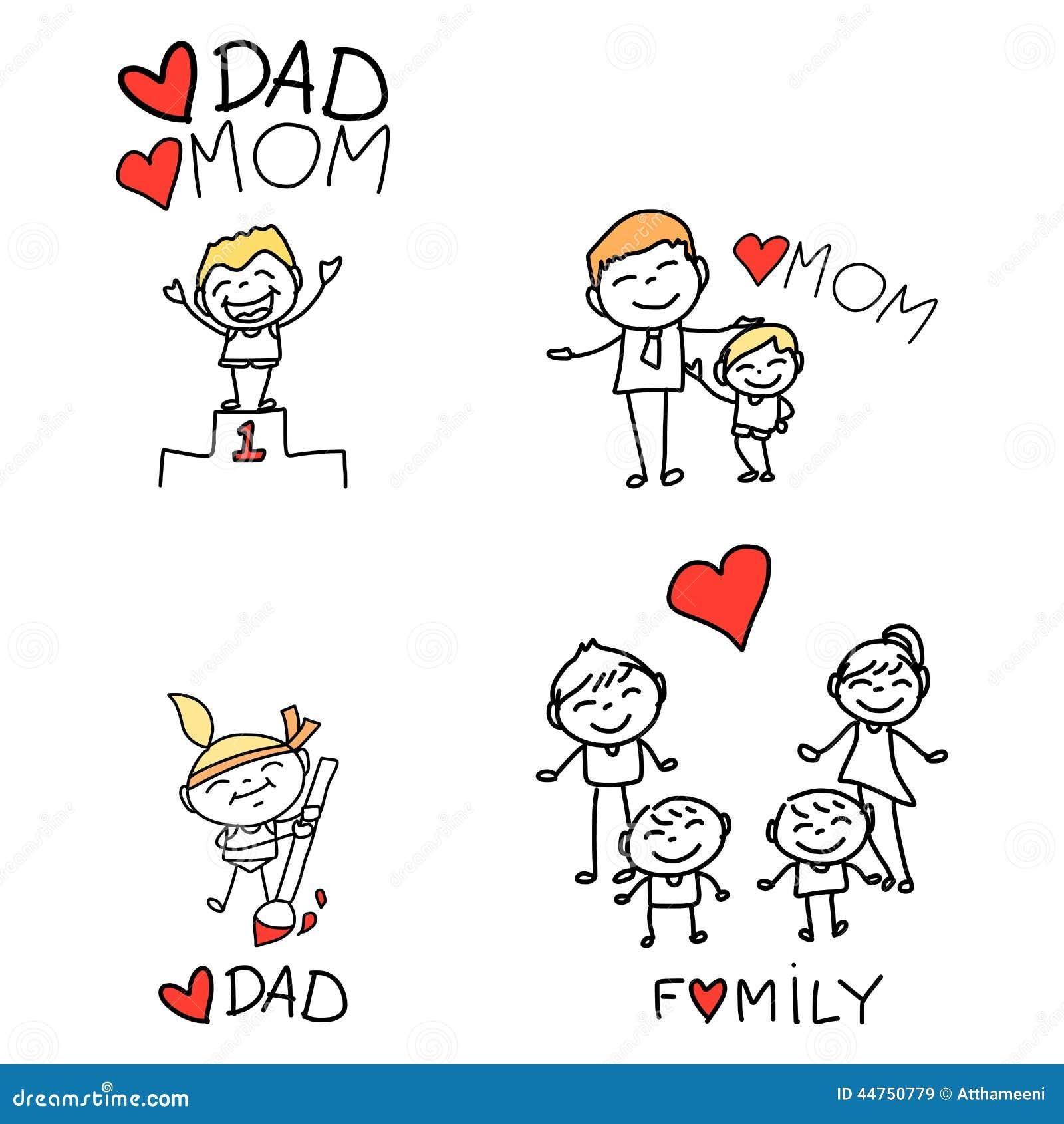 Hand Drawing Cartoon Happy Family Stock Vector - Image: 44750779