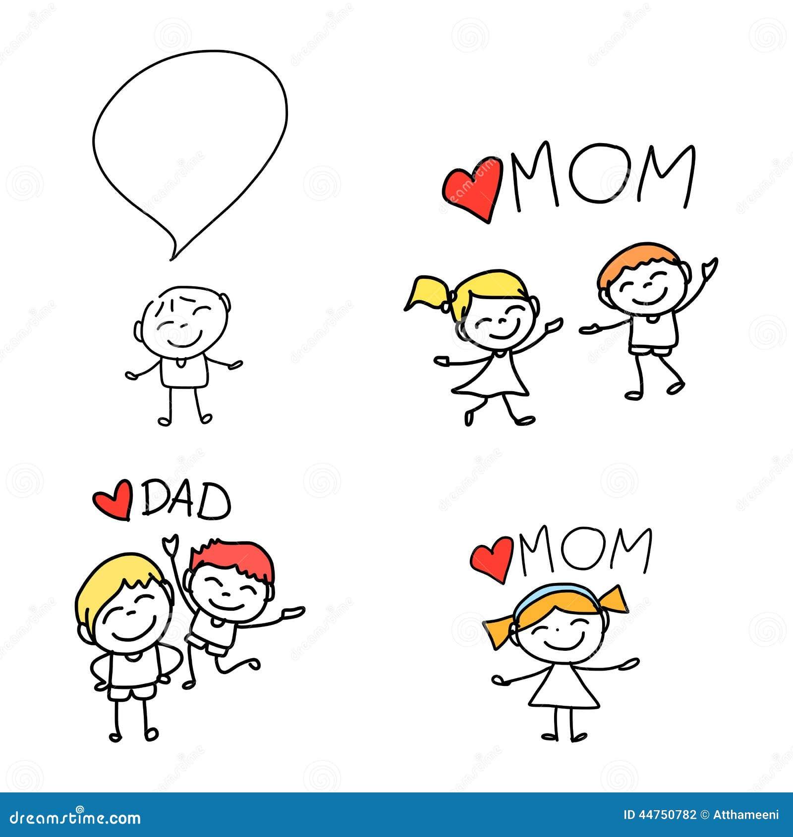 Hand Drawing Cartoon Happy Family Stock Vector - Image: 44750782