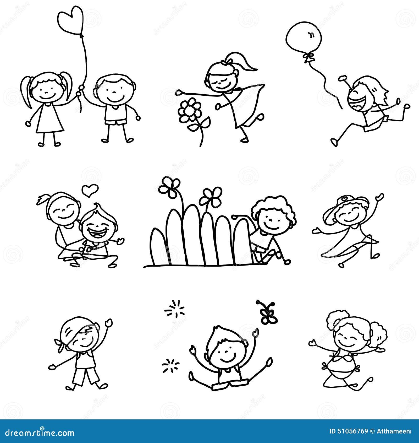 hand drawing cartoon happy kids stock vector image 51056769