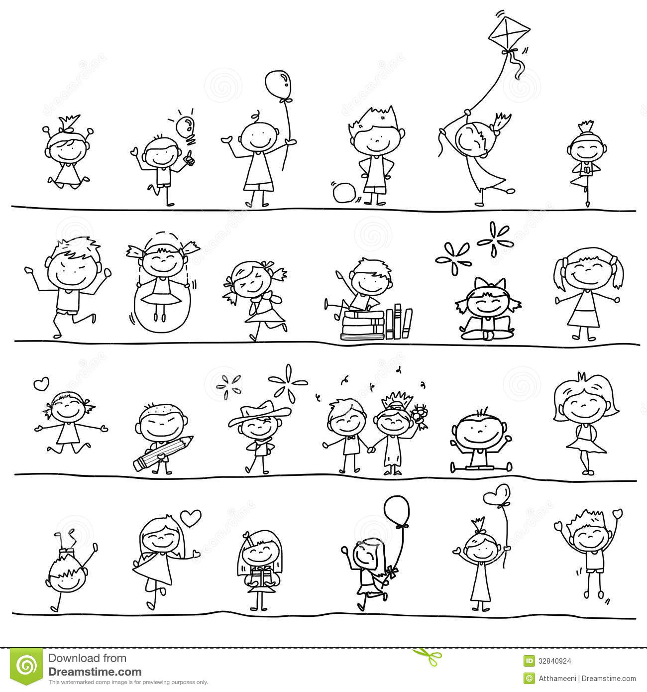hand drawing cartoon happy kids stock images - Cartoon Drawings Kids